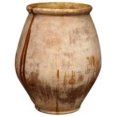 19th Century French Hand Carved Terracotta Olive Jar from Provence