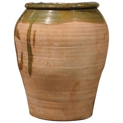 19th Century French Hand Carved Terracotta Olive Oil Jar from Provence