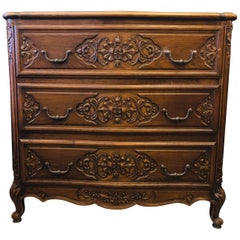 19th Century French Hand Carved Three Drawers Walnut Commode in Louis XV Style