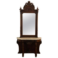 19th Century French Hand Carved Walnut Marble-Top Console Mirror