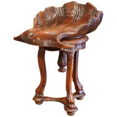 19th Century, French Hand Carved Walnut Piano Grotto Stool with Shell Motif