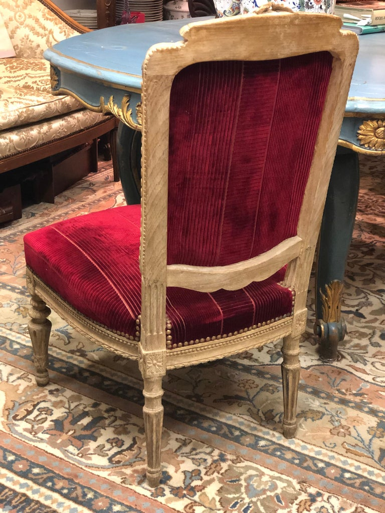 Louis XVI 19th Century French Hand Carved Wooden Chair in Red Velvet For Sale