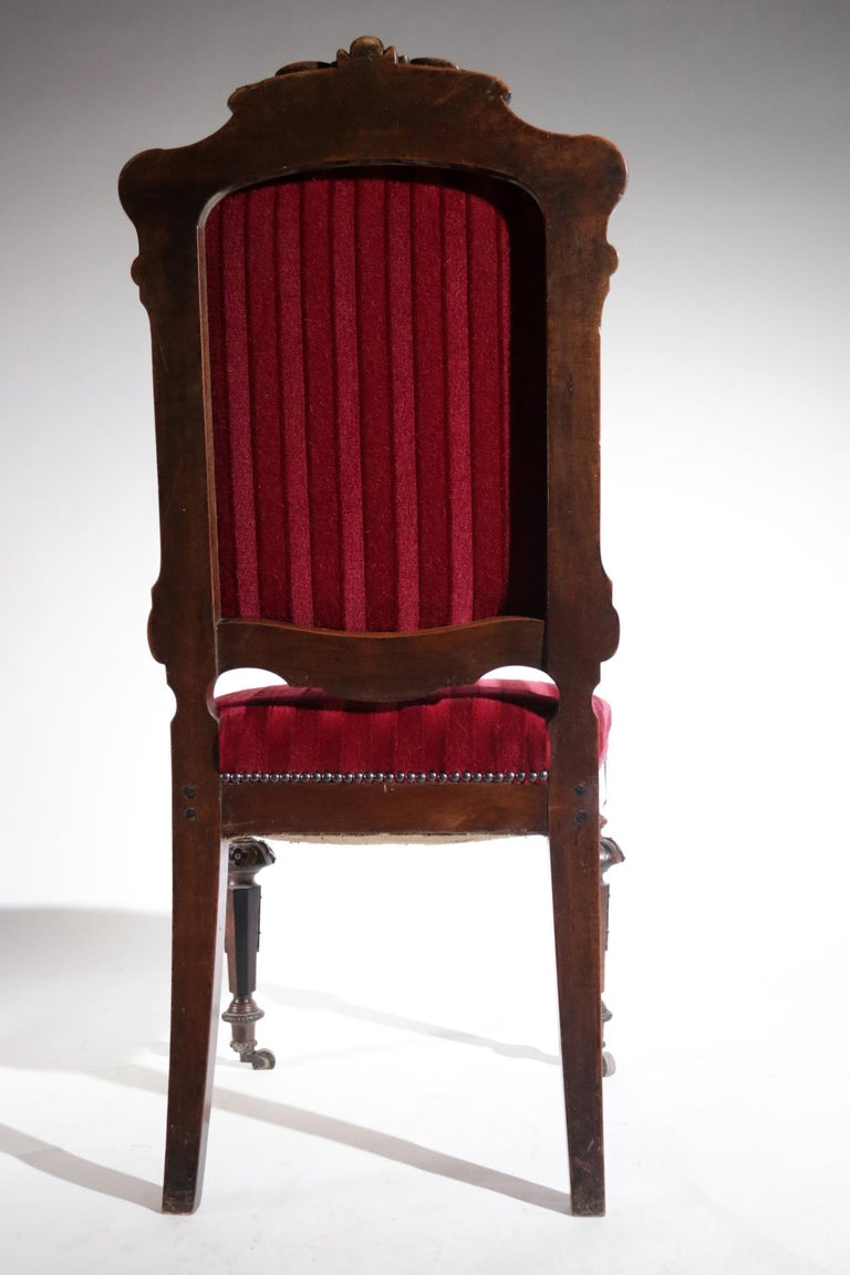 19th Century French Hand Carved Wooden Chair Metal Ornaments Red Velvet For Sale 5