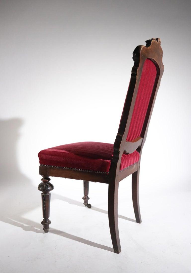 19th Century French Hand Carved Wooden Chair Metal Ornaments Red Velvet For Sale 6