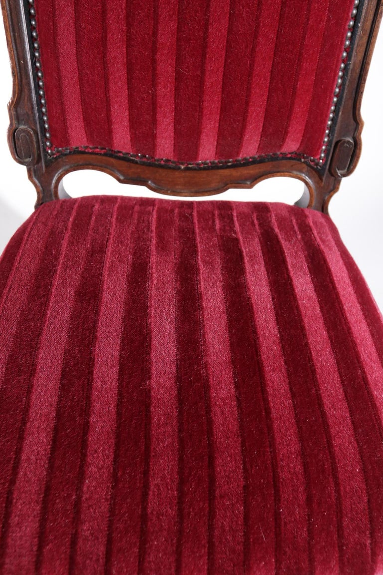 19th Century French Hand Carved Wooden Chair Metal Ornaments Red Velvet For Sale 8