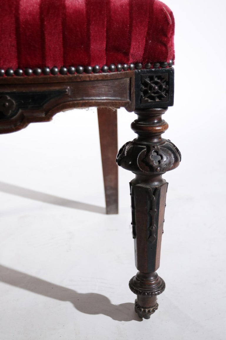 19th Century French Hand Carved Wooden Chair Metal Ornaments Red Velvet In Fair Condition For Sale In Boven Leeuwen, NL