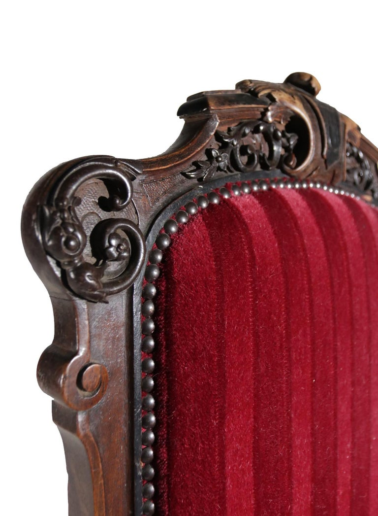 19th Century French Hand Carved Wooden Chair Metal Ornaments Red Velvet For Sale 3