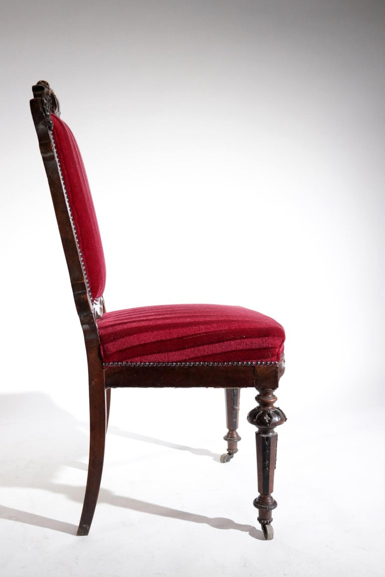 19th Century French Hand Carved Wooden Chair Metal Ornaments Red Velvet For Sale 4