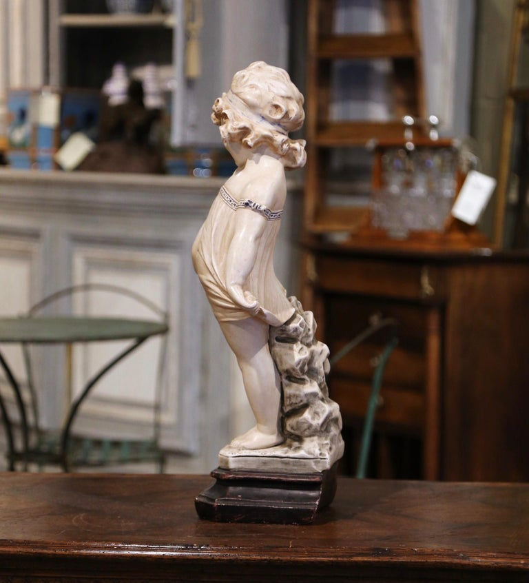 19th Century French Handcrafted Plaster Young Girl Statue After Donatello In Excellent Condition For Sale In Dallas, TX