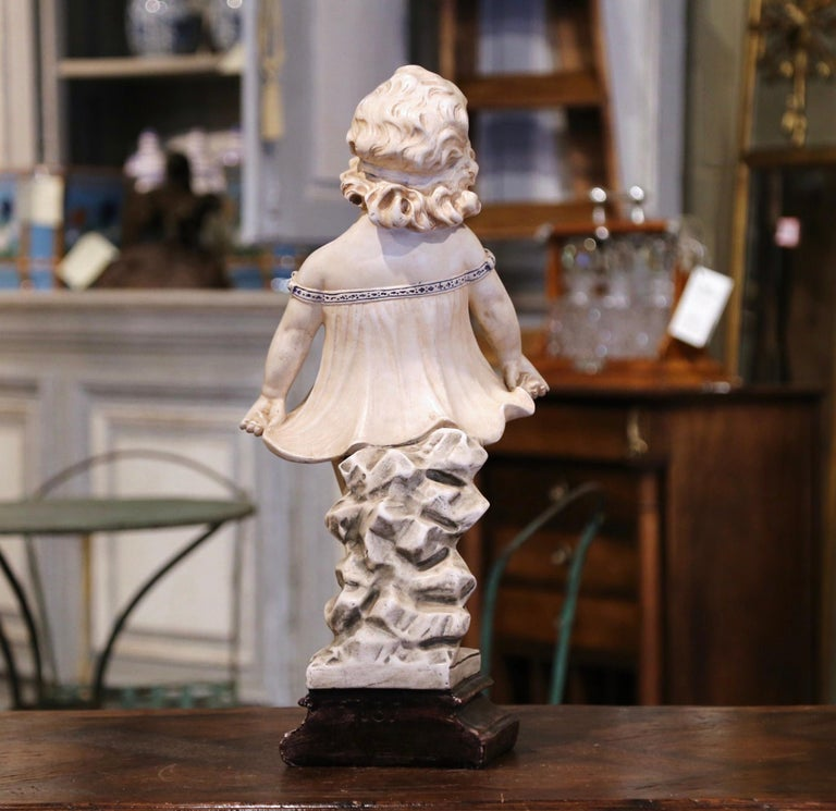 19th Century French Handcrafted Plaster Young Girl Statue After Donatello For Sale 1
