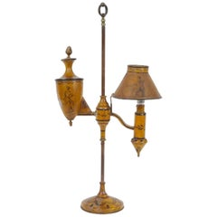 19th Century French Hand Painted Adjustable Wooden Desk Lamp