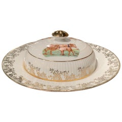 19th Century French Hand Painted and Gilt Porcelain Butter Dish from Limoges