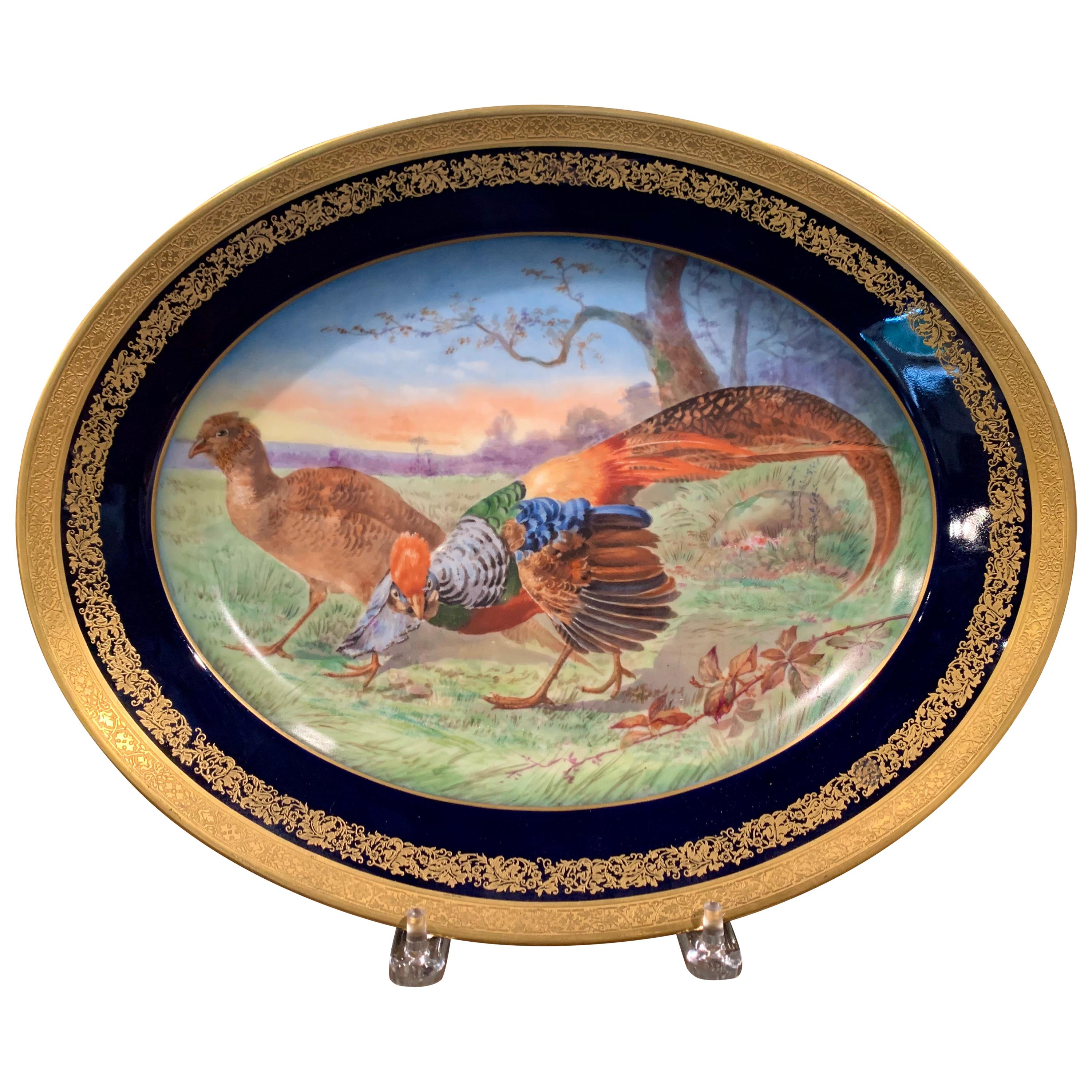 19th Century French Hand Painted and Gilt Porcelain Old Paris Limoges Platter