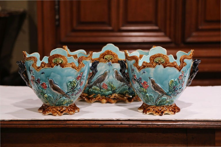 19th Century French Hand Painted Barbotine Cachepots with Bird and Flower Decor For Sale 6