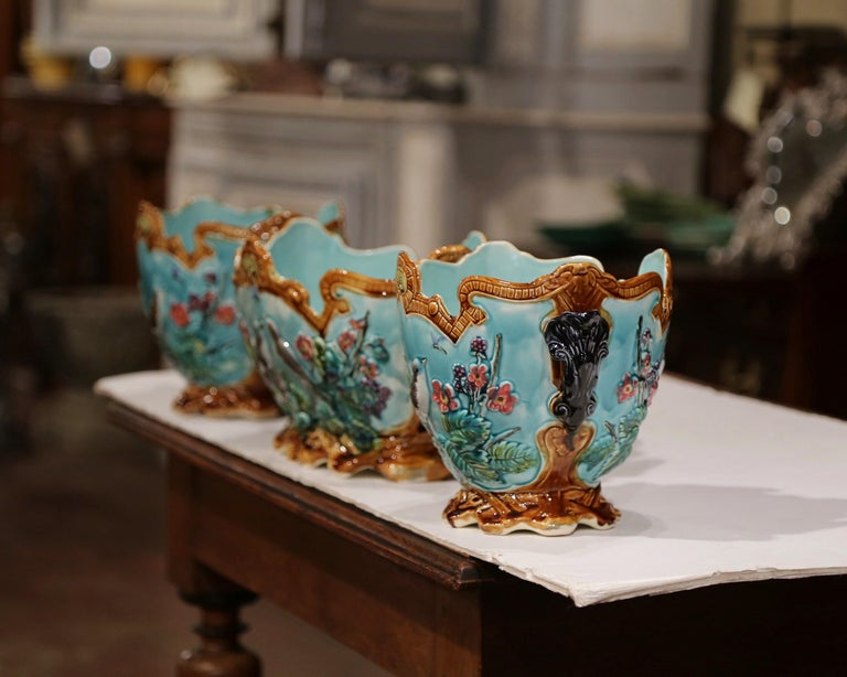 19th Century French Hand Painted Barbotine Cachepots with Bird and Flower Decor For Sale 7
