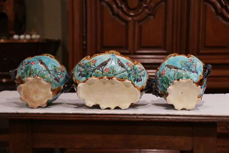19th Century French Hand Painted Barbotine Cachepots with Bird and Flower Decor For Sale 8