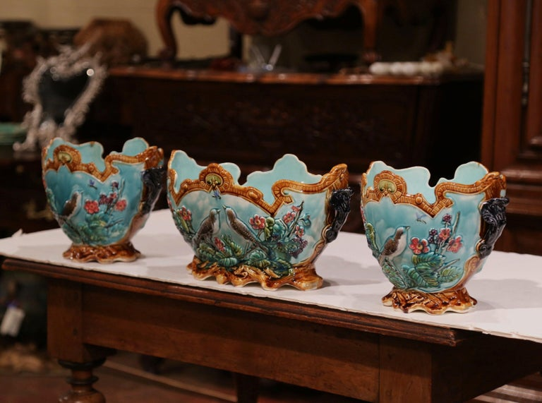 Hand-Crafted 19th Century French Hand Painted Barbotine Cachepots with Bird and Flower Decor For Sale