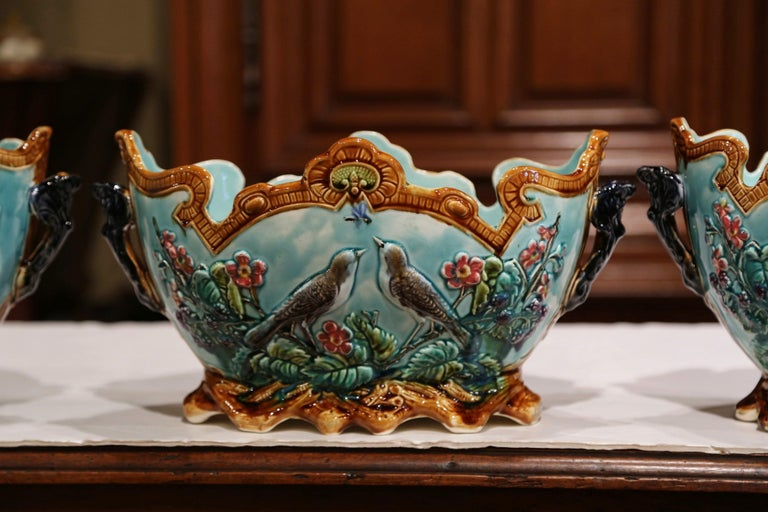 Ceramic 19th Century French Hand Painted Barbotine Cachepots with Bird and Flower Decor For Sale
