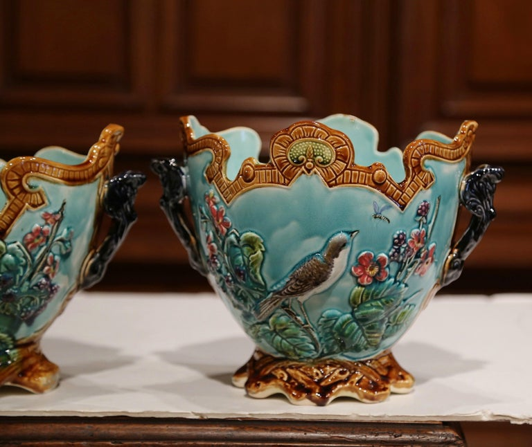 19th Century French Hand Painted Barbotine Cachepots with Bird and Flower Decor For Sale 1