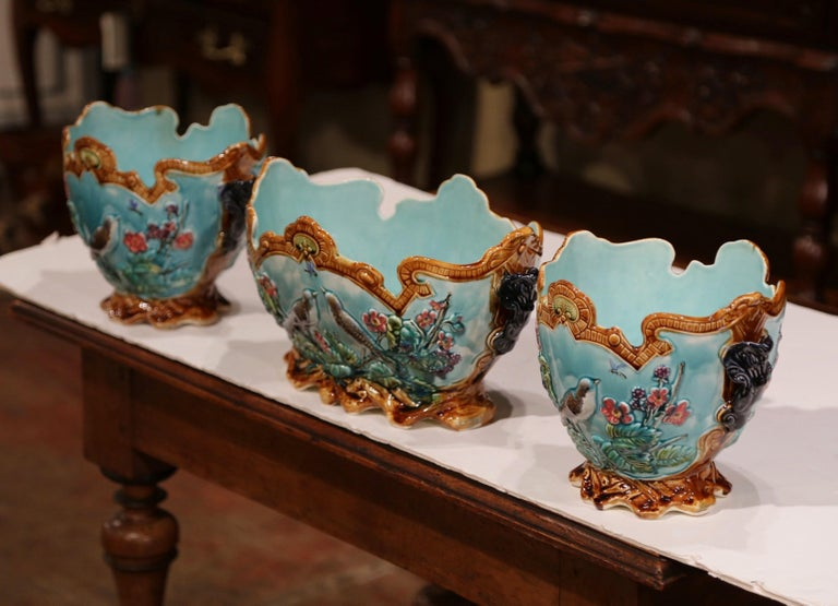 19th Century French Hand Painted Barbotine Cachepots with Bird and Flower Decor For Sale 2
