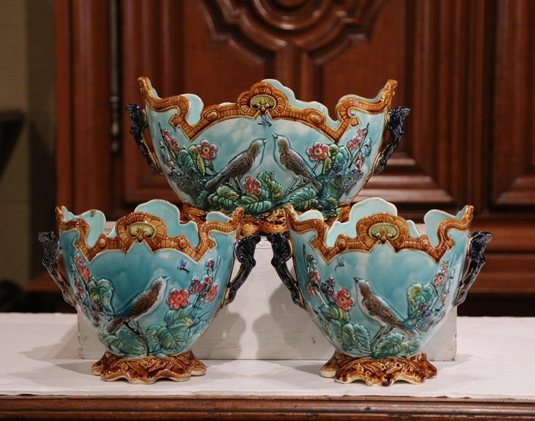 19th Century French Hand Painted Barbotine Cachepots with Bird and Flower Decor For Sale 3