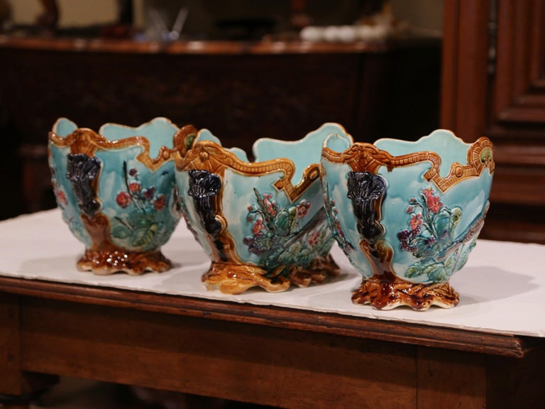 19th Century French Hand Painted Barbotine Cachepots with Bird and Flower Decor For Sale 4