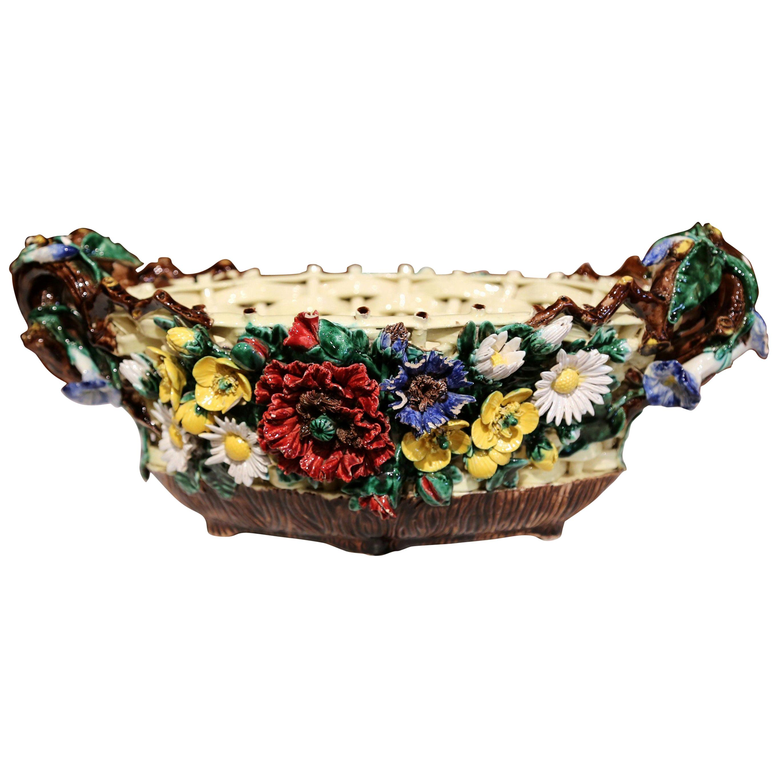 19th Century French Hand Painted Barbotine Ceramic Jardinière with Floral Decor
