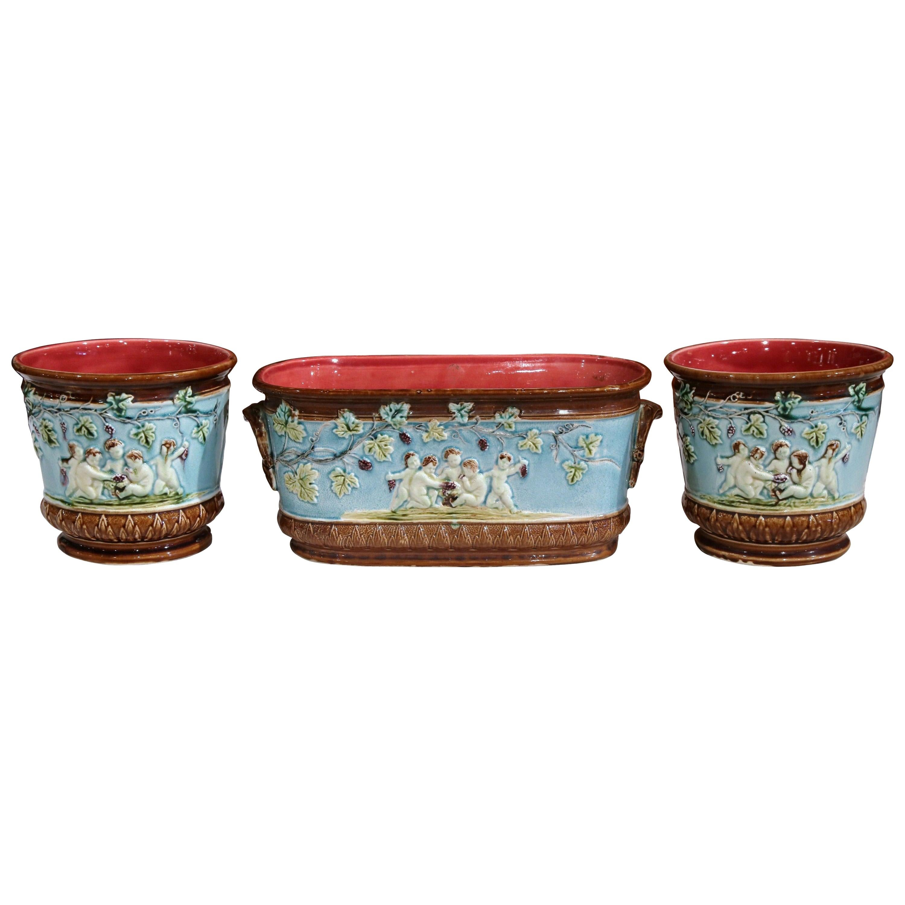 19th Century French Hand Painted Barbotine Jardinière and Matching Cachepots