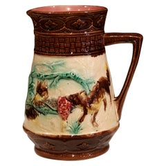 19th Century French Hand Painted Barbotine Wine or Water Pitcher