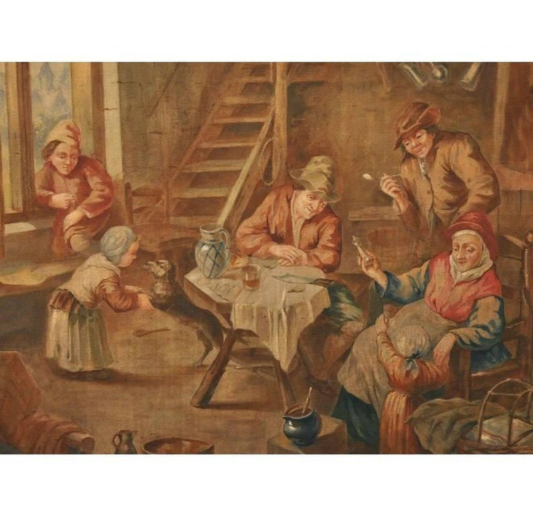 This tall, hand painted canvas was crafted in France, circa 1870; originally from an inside room paneling, the antique painting depicts an indoor pastoral or farm scene in the manner of David Teniers. The artwork has wonderful details which include
