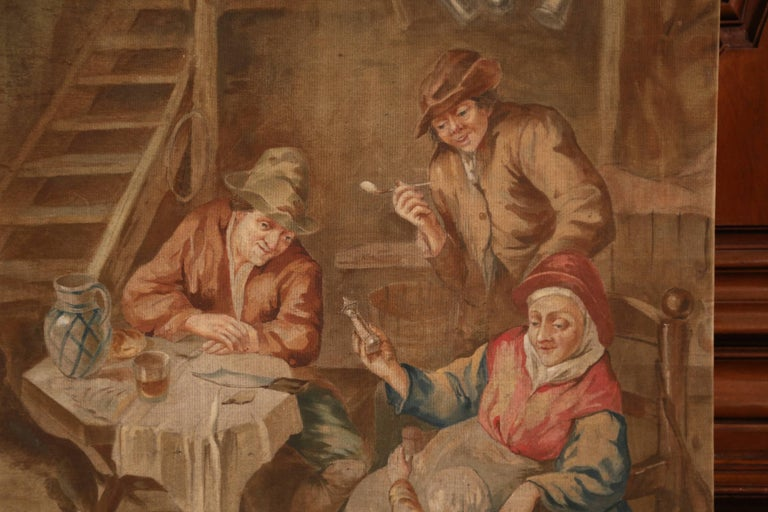 Hand-Painted 19th Century French Hand Painted Canvas on Stretcher after David Teniers For Sale