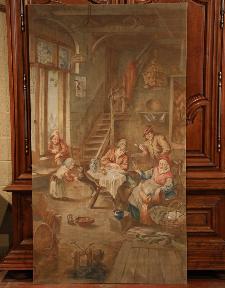 19th Century French Hand Painted Canvas on Stretcher after David Teniers In Excellent Condition For Sale In Dallas, TX