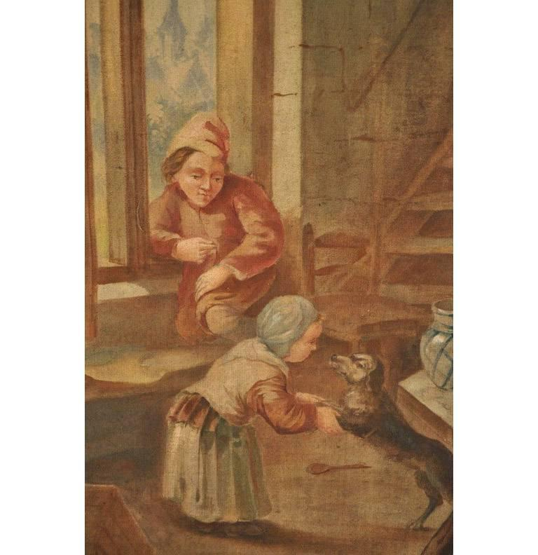 19th Century French Hand Painted Canvas on Stretcher after David Teniers For Sale 1