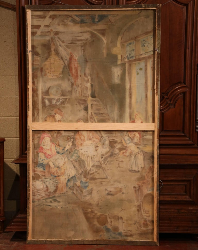 19th Century French Hand Painted Canvas on Stretcher after David Teniers For Sale 4