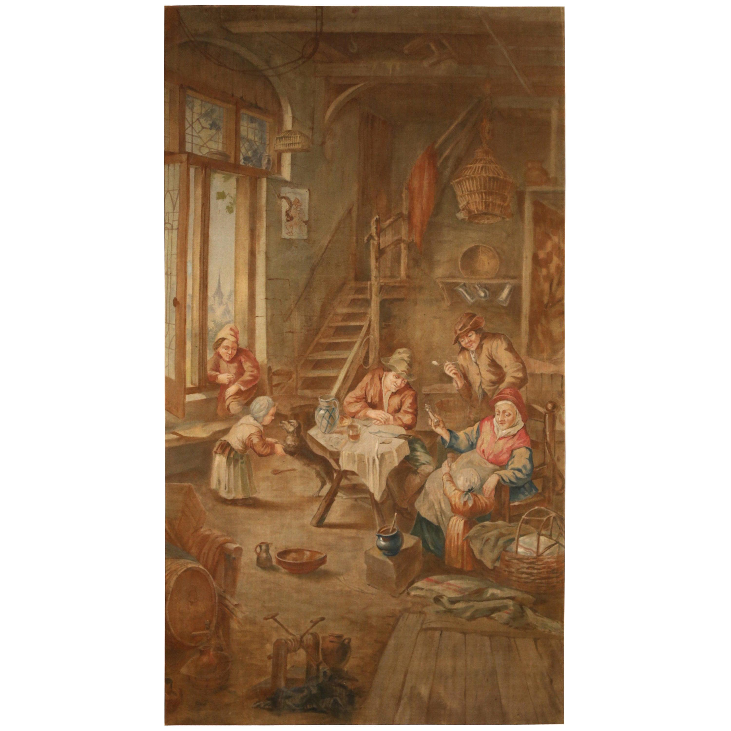 19th Century French Hand Painted Canvas on Stretcher after David Teniers