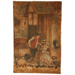 19th Century French Hand Painted Canvas on Stretcher with Courting Scene