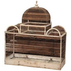 19th Century French Hand Painted Carved and Wired Birdcage