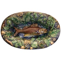 19th Century French Hand Painted Ceramic Barbotine Fish Platter Palissy Style