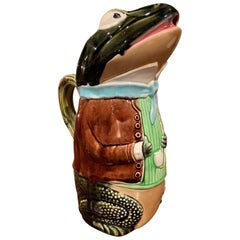 19th Century French Hand Painted Ceramic Barbotine Frog Pitcher by Fives Lille