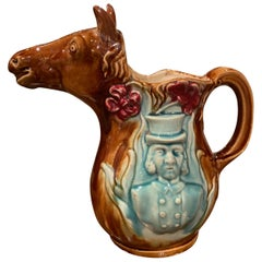 19th Century French Hand Painted Ceramic Barbotine Horse Pitcher Onnaing Style