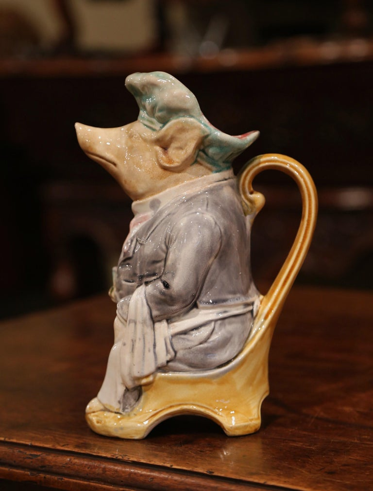 Hand-Crafted 19th Century French Hand Painted Ceramic Barbotine Pig Pitcher by Onnaing For Sale