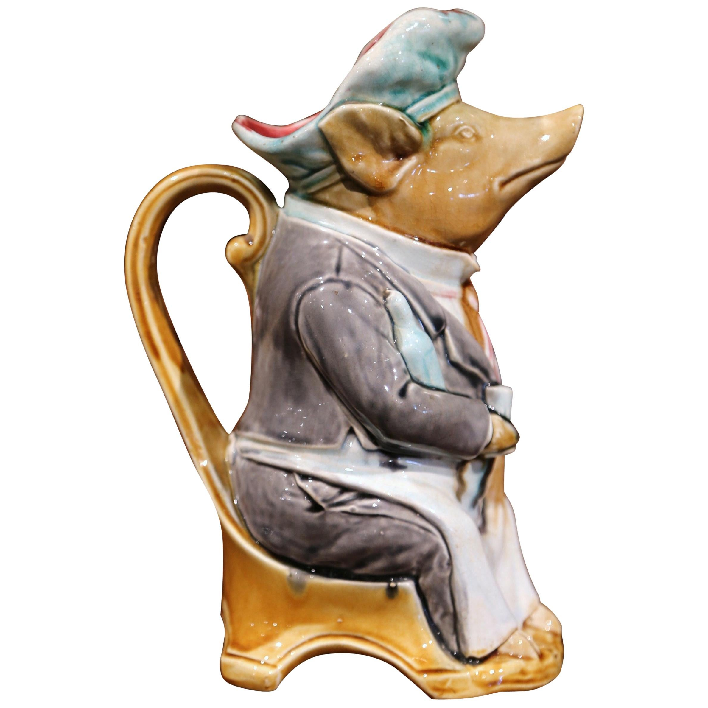 19th Century French Hand Painted Ceramic Barbotine Pig Pitcher by Onnaing