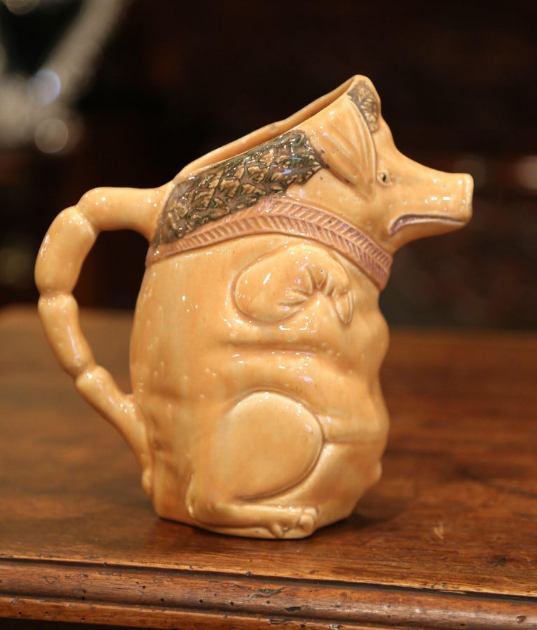 Hand-Crafted 19th Century French Hand Painted Ceramic Barbotine Pig Pitcher Onnaing Style For Sale