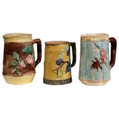 19th Century French Hand Painted Ceramic Barbotine Pitchers Mugs, Set of Three