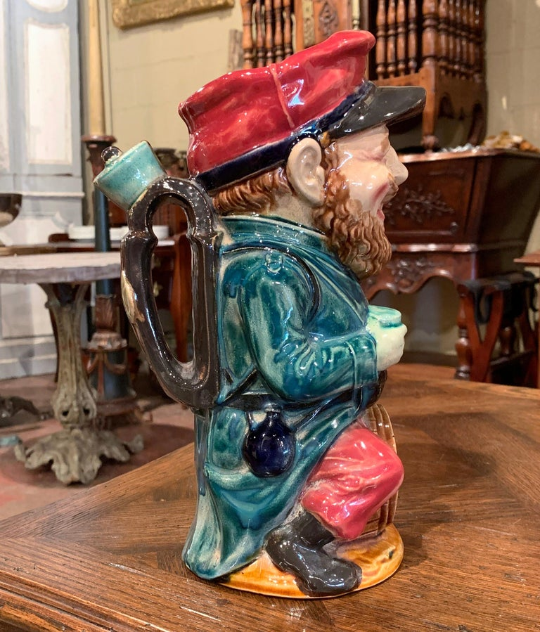 19th Century French Hand Painted Ceramic Barbotine Soldier Pitcher by Onnaing For Sale 2