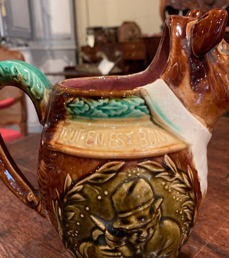 19th Century French Hand Painted Ceramic Barbotine Wild Boar Pitcher For Sale 2