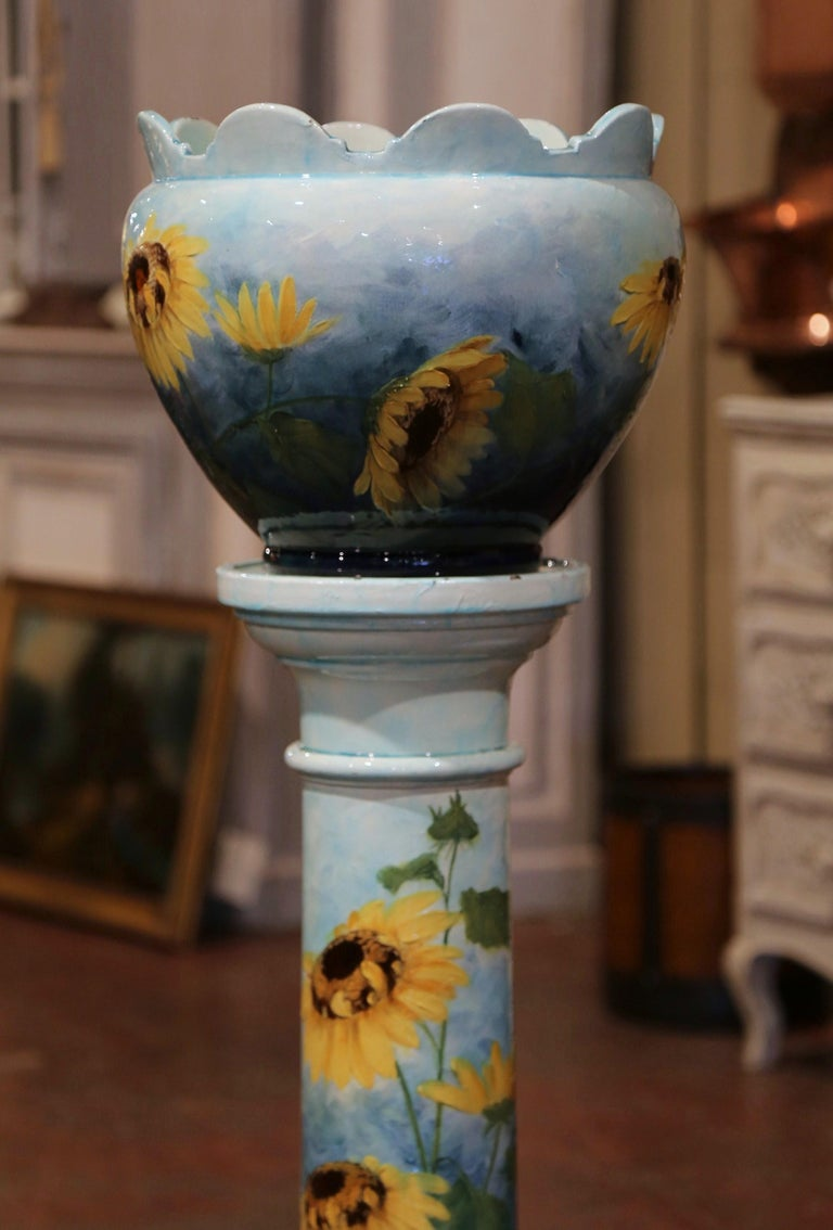 Hand-Crafted 19th Century French Hand Painted Ceramic Planter and Stand Signed D. Massier For Sale