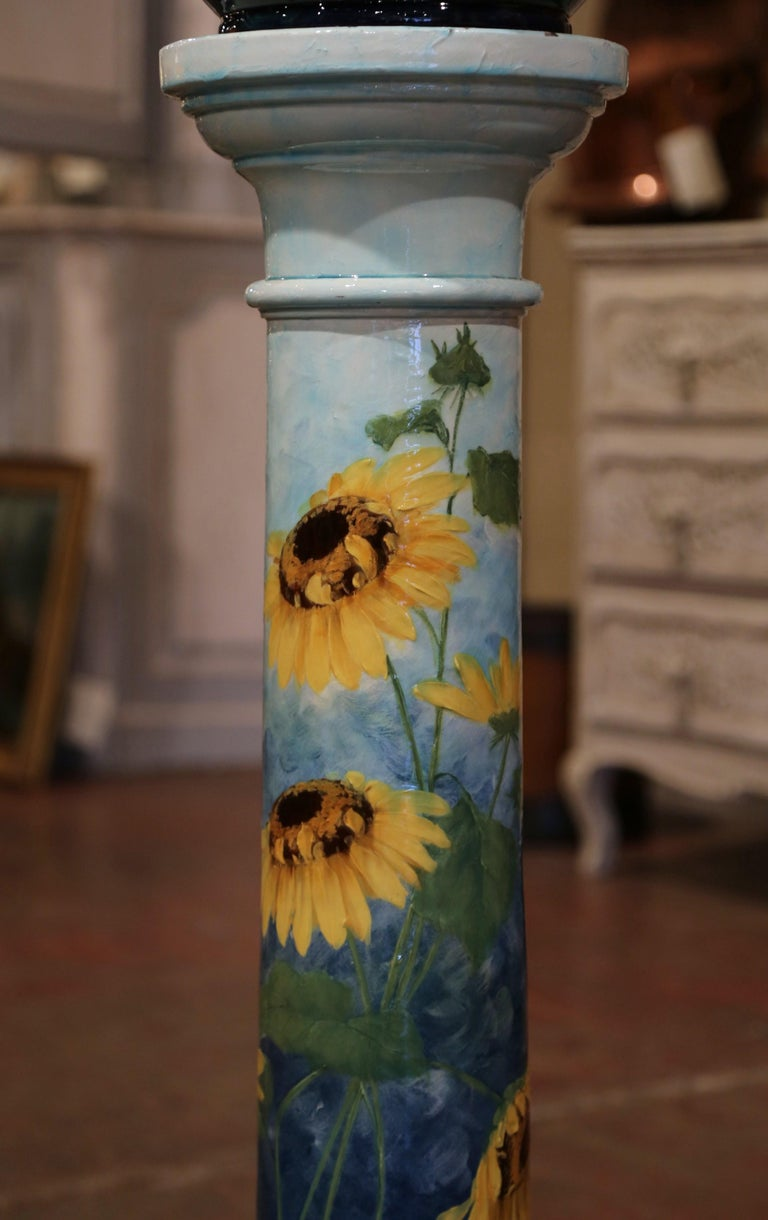 19th Century French Hand Painted Ceramic Planter and Stand Signed D. Massier For Sale 1