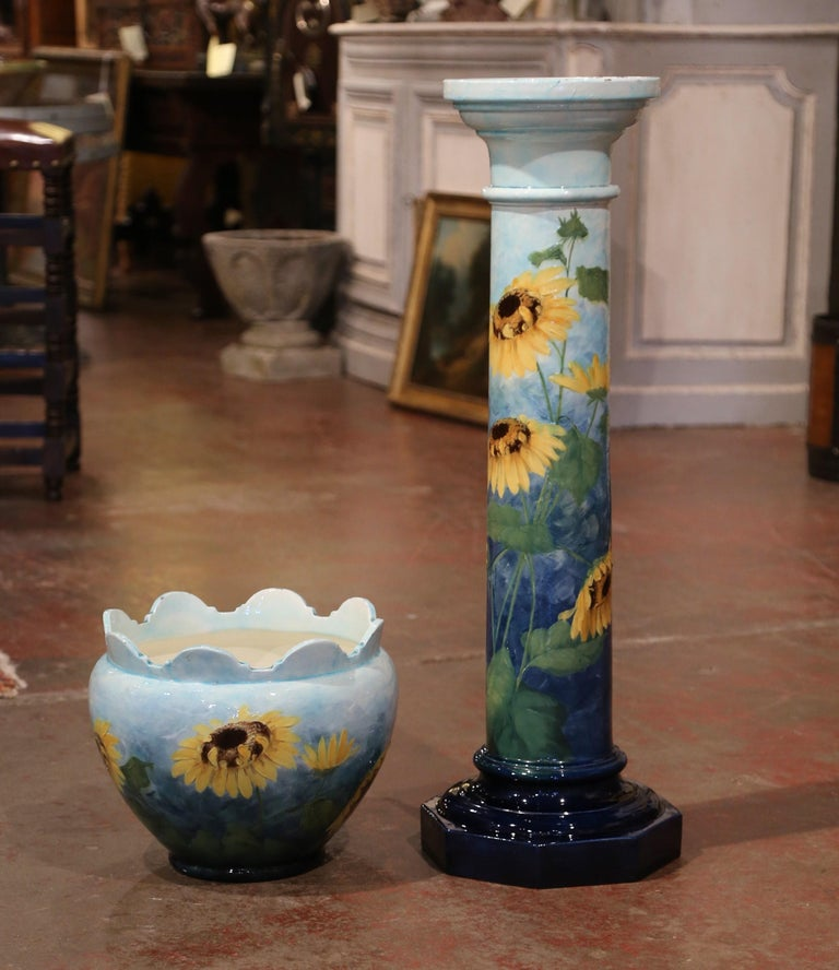 19th Century French Hand Painted Ceramic Planter and Stand Signed D. Massier For Sale 2