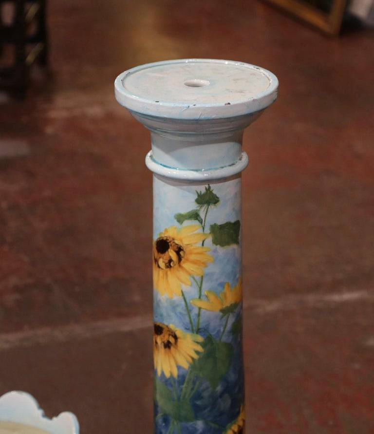 19th Century French Hand Painted Ceramic Planter and Stand Signed D. Massier For Sale 3